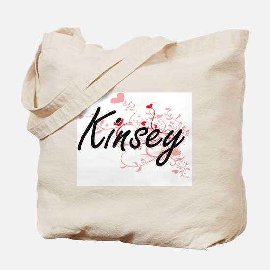 Kinsey Artistic Name Design with Hearts Tote Bag