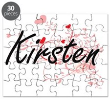 Kirsten Artistic Name Design with Hearts Puzzle