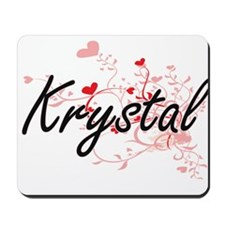 Krystal Artistic Name Design with Hearts Mousepad