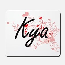 Kya Artistic Name Design with Hearts Mousepad