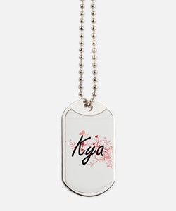 Kya Artistic Name Design with Hearts Dog Tags