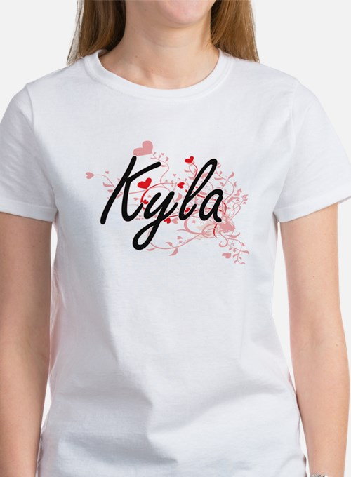 Kyla Artistic Name Design with Hearts T-Shirt