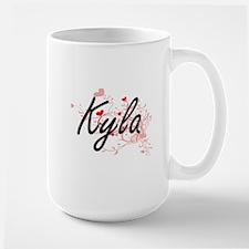 Kyla Artistic Name Design with Hearts Mugs
