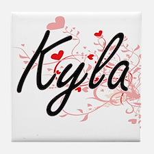 Kyla Artistic Name Design with Hearts Tile Coaster