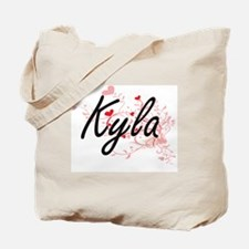 Kyla Artistic Name Design with Hearts Tote Bag