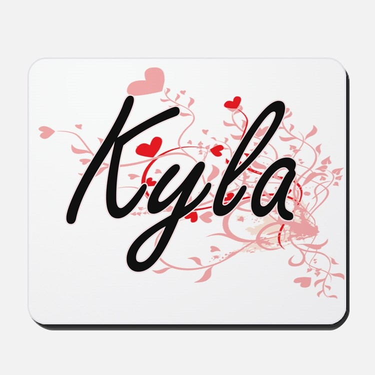 Kyla Artistic Name Design with Hearts Mousepad