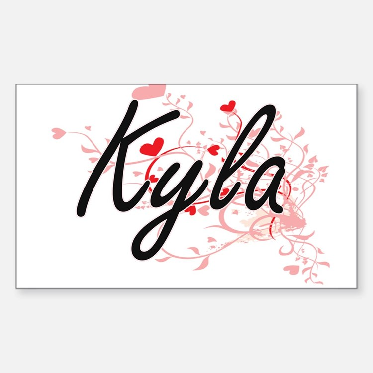 Kyla Artistic Name Design with Hearts Decal