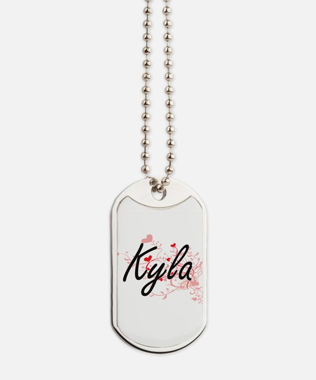 Kyla Artistic Name Design with Hearts Dog Tags