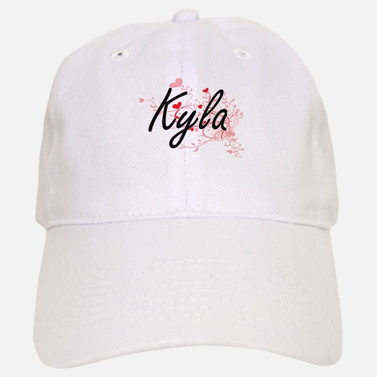 Kyla Artistic Name Design with Hearts Baseball Baseball Cap