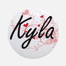 Kyla Artistic Name Design with He Ornament (Round)