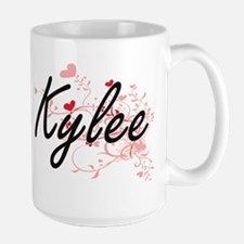 Kylee Artistic Name Design with Hearts Mugs