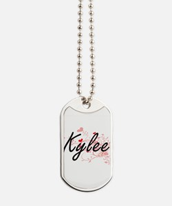 Kylee Artistic Name Design with Hearts Dog Tags