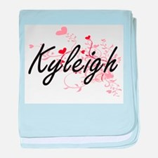 Kyleigh Artistic Name Design with Hea baby blanket