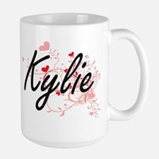 Kylie Artistic Name Design with Hearts Mugs