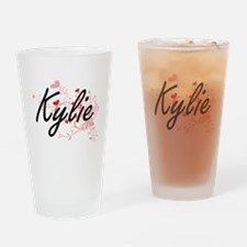 Kylie Artistic Name Design with Hea Drinking Glass