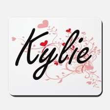 Kylie Artistic Name Design with Hearts Mousepad