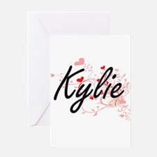 Kylie Artistic Name Design with Hea Greeting Cards