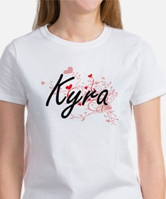 Kyra Artistic Name Design with Hearts T-Shirt