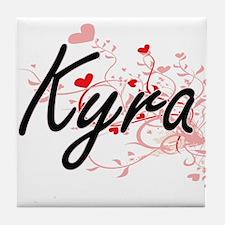 Kyra Artistic Name Design with Hearts Tile Coaster