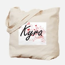 Kyra Artistic Name Design with Hearts Tote Bag