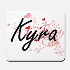 Kyra Artistic Name Design with Hearts Mousepad
