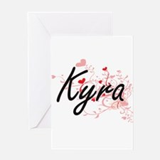Kyra Artistic Name Design with Hear Greeting Cards