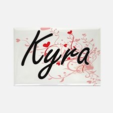 Kyra Artistic Name Design with Hearts Magnets