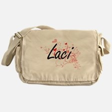 Laci Artistic Name Design with Heart Messenger Bag