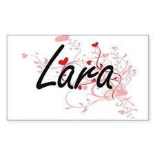 Lara Artistic Name Design with Hearts Decal