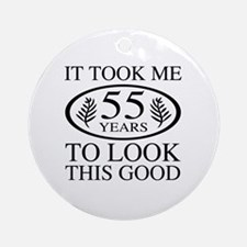 Funny 55th Birthday Round Ornament