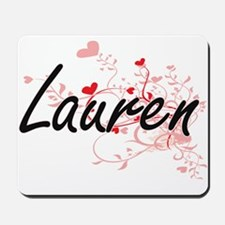 Lauren Artistic Name Design with Hearts Mousepad