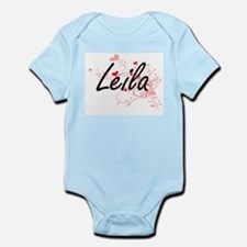 Leila Artistic Name Design with Hearts Body Suit