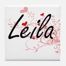 Leila Artistic Name Design with Heart Tile Coaster