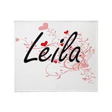 Leila Artistic Name Design with Hear Throw Blanket