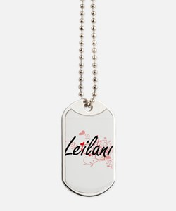 Leilani Artistic Name Design with Hearts Dog Tags