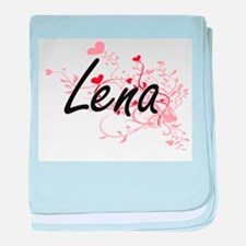 Lena Artistic Name Design with Hearts baby blanket