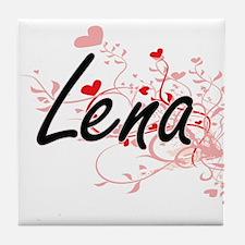 Lena Artistic Name Design with Hearts Tile Coaster