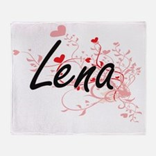 Lena Artistic Name Design with Heart Throw Blanket
