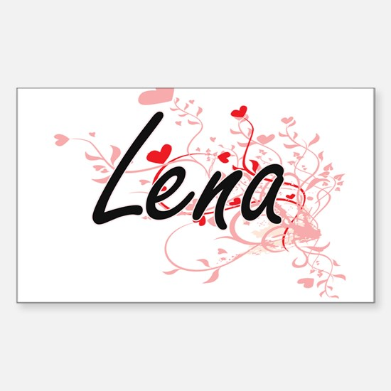 Lena Artistic Name Design with Hearts Decal