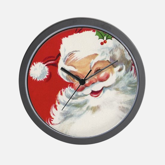 Vintage Christmas Jolly Santa Claus Wall Clock