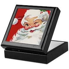 Vintage Christmas Jolly Santa Claus Keepsake Box