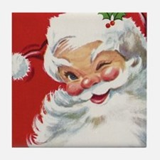 Vintage Christmas Jolly Santa Claus Tile Coaster