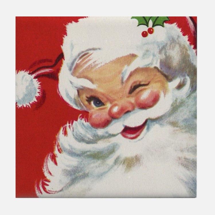 Vintage Christmas Jolly Santa Claus Tile Coaster