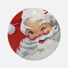 Vintage Christmas Jolly Santa Cla Ornament (Round)