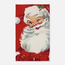Vintage Christmas Jolly Santa Claus Area Rug