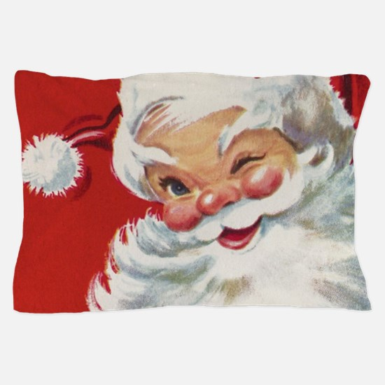Vintage Christmas Jolly Santa Claus Pillow Case