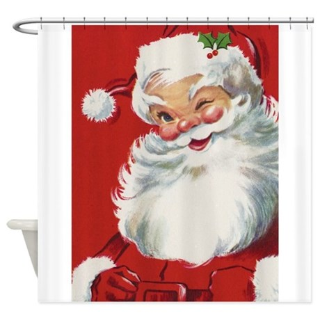 Vintage Christmas Jolly Santa Claus Shower Curtain By Admin Cp14940502