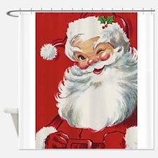Vintage Christmas Jolly Santa Claus Shower Curtain