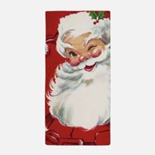 Vintage Christmas Jolly Santa Claus Beach Towel