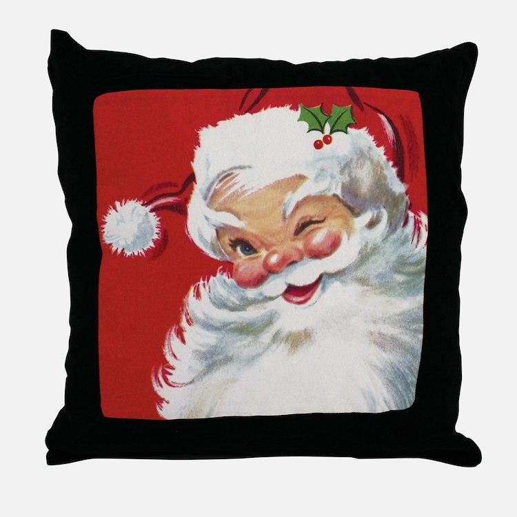 Vintage Christmas Jolly Santa Claus Throw Pillow